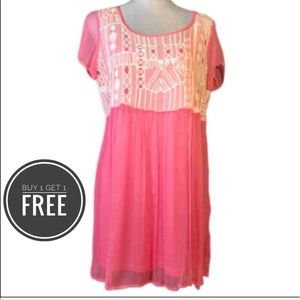 Free People Pink/ White Baby Doll Dress/Top M